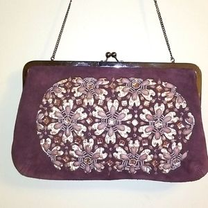 💋 Chicos vintage SUEDE clutch with chain💋